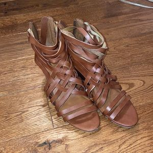 Brown strappy sandals with wedge worn once